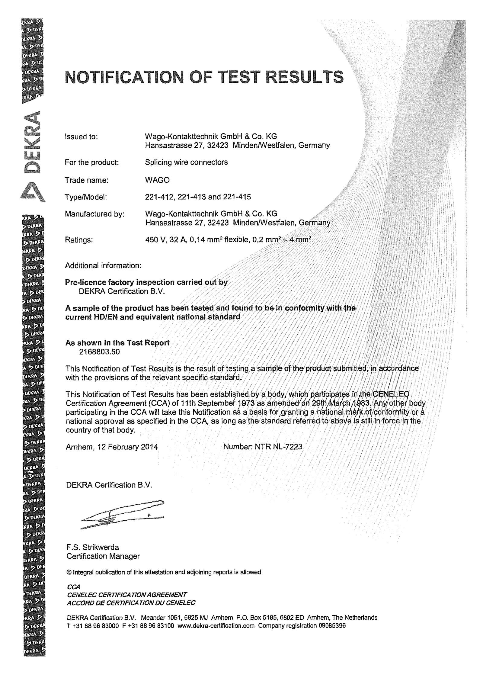 Certifikty Krabicov Svorky Wago 221